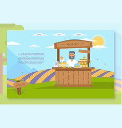 homemade honey sale landing page flat template vector image