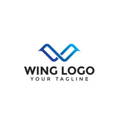 Initial letter w wings line logo design vector