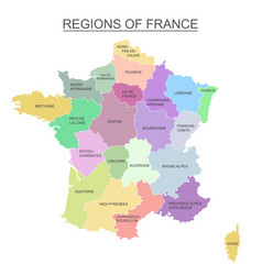 Interactive colorful map of metropolitans french vector