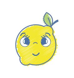 kawaii nice shy lemon fruit vector image