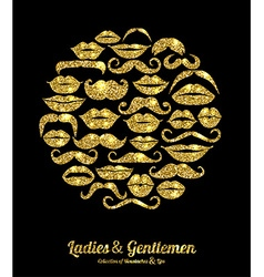 Lips and moustaches gold set design glitter icons vector