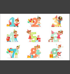 little children birthday celebration set vector image
