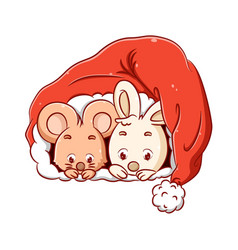 Little mouse and rabbit is hiding vector