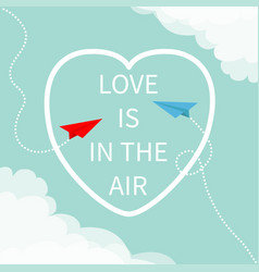 love is in air lettering text flying red vector image