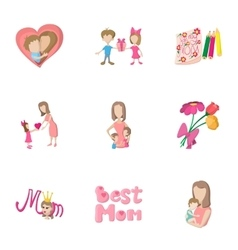 Love of mother icons set cartoon style vector image