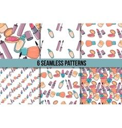 Makeup seamless pattern set vector