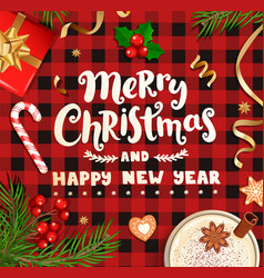 merry christmas wishing card on checkered backdrop vector image
