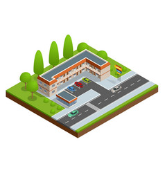 motel or hotel building near road with cars vector image