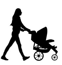 Mother with baand pram silhouette isolated vector
