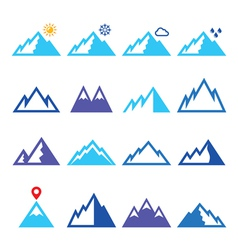 Mountains blue icons set vector image