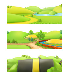 Nature landscape park and outdoor cartoon game vector
