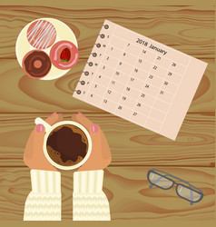 Person with cup of coffee vector