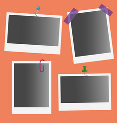 photo frames with pin and clip vector image