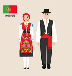 portuguese in national dress with a flag vector image