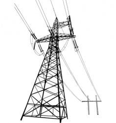 Power lines and electric pylons vector