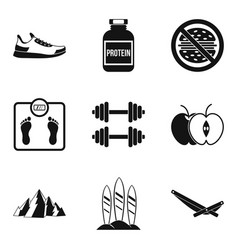 Protein icons set simple style vector