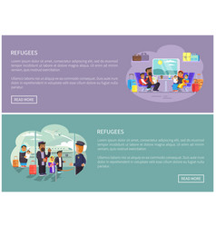 Refugee arabian families internet promo posters vector