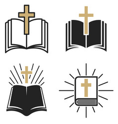 Religious community set emblem with holy bible vector