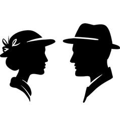 Retro man and woman face profiles vector
