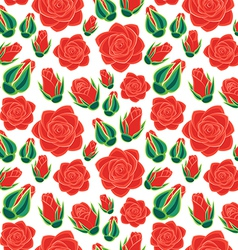 Rose with buds seamless pattern vector