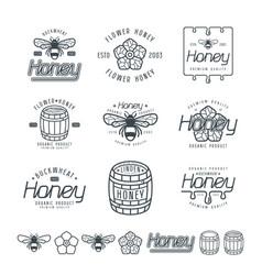 set of honey labels badges and design elements vector image