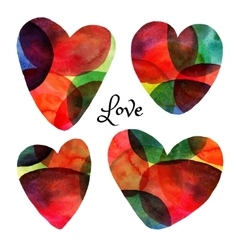 Set of watercolor hearts Happy Valentine day vector