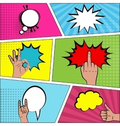 Six comic speech bubble background pop art vector image