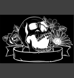 skull and flowers in black background vector image