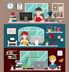 students doing homework vector image
