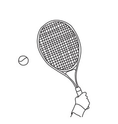 tennis hand with racket line black and white vector image