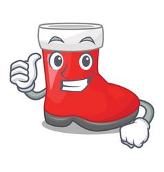 thumbs up christmas santa boot isolated on mascot vector image