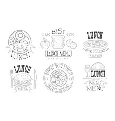 time to lunch hand drawn retro labels set organic vector image