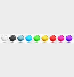 transparent colored spheres with shadows vector image
