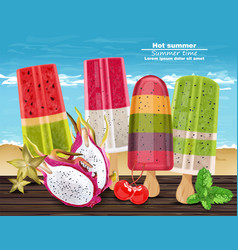 tropic fruits ice cream hot summer banner vector image