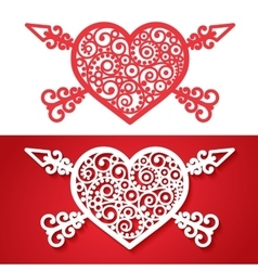Vintage heart with cross arrows vector