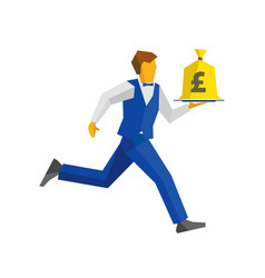 waiter runs with money bag on a tray vector image