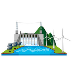 Watergate and wind turbines vector