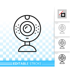 web camera simple black line icon vector image