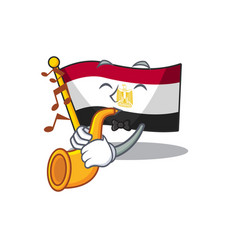 With trumpet flag egypt folded in mascot cupboard vector