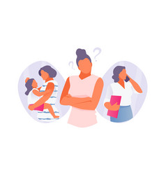 woman chooses between family and career vector image