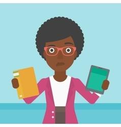 Woman choosing between book and tablet computer vector