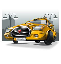 yellow cartoon taxi on city background vector image