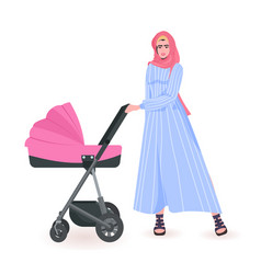 young arab mother walking with newborn bain vector image