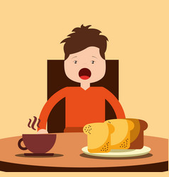 young happy boy sitting eating breakfast on table vector image