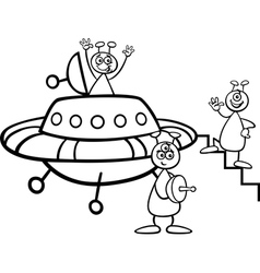 aliens with ufo for coloring book vector image vector image