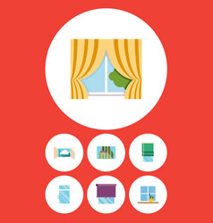 flat icon frame set of balcony cloud glazing and vector image vector image