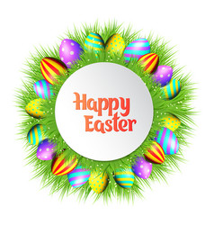 happy easter eggs frame vector image