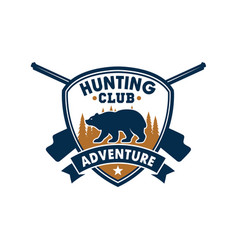 hunting club sporting badge with wild bear vector image