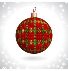 Knitted christmas ball vector