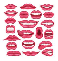 lip cartoon beautiful red lips in kiss or vector image